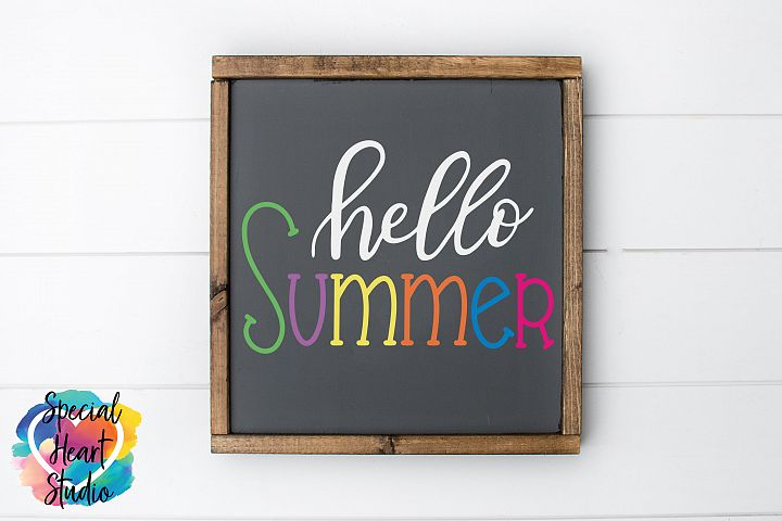 Hand lettered Hello Summer SVG - Home decor, sign, pillow