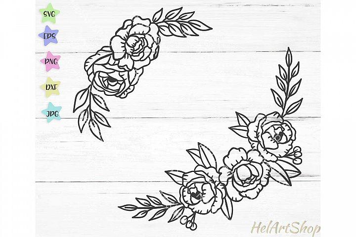 Floral border svg file, Flower border svg, floral swag svg