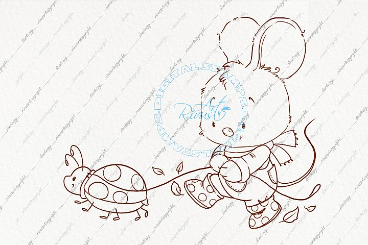 Digi stamp. Cute mouse coloring page. Fall clipart