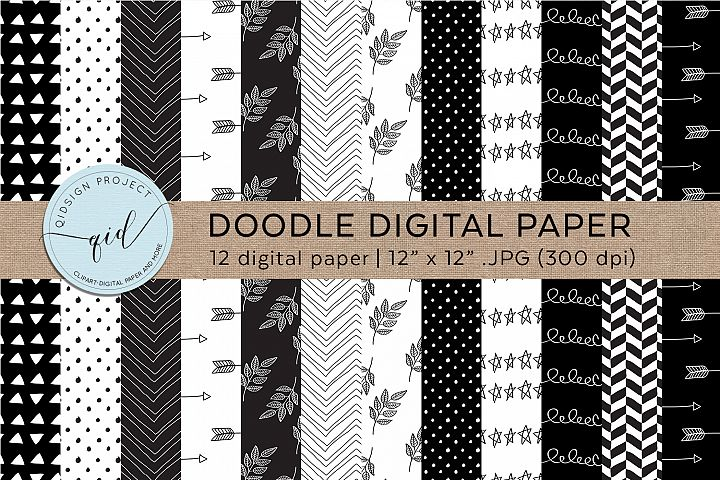 Doodle Digital Paper Black And White
