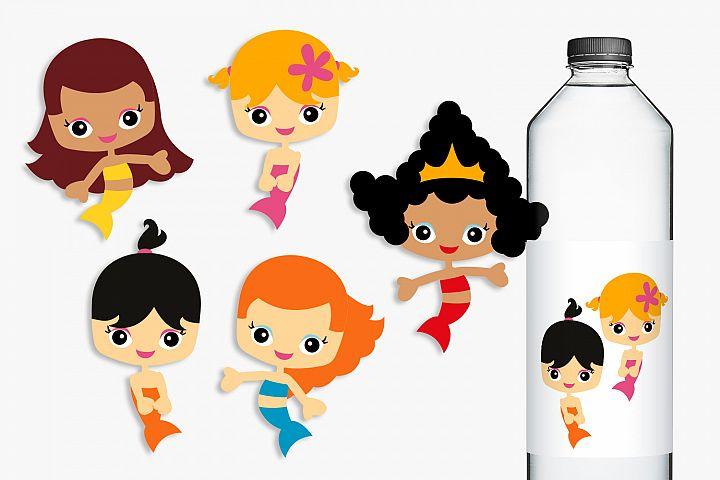Mermaid Girls Multiracial Clip art Illustrations