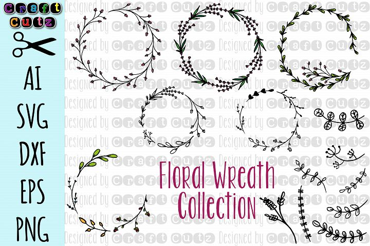 Floral Wreath Collection, Hand Drawn Floral Frames, Floral Elements, Botanical, Floral Elements, DIY invitations, AI, SVG, DXF, EPS, and PNG