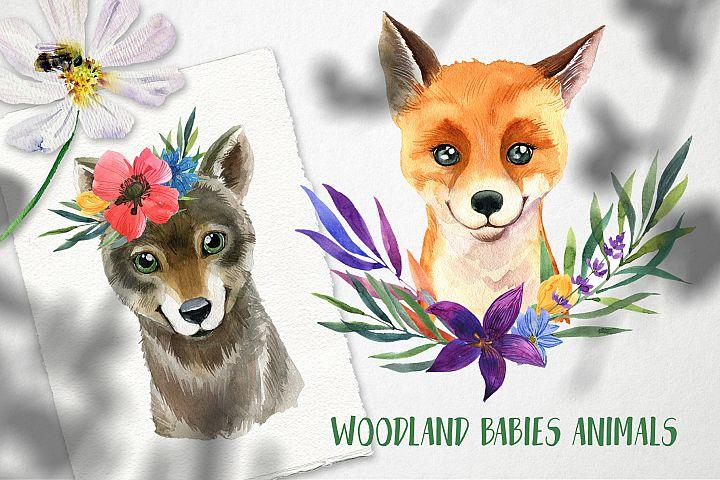 Wodland babies animals   Watercolor set