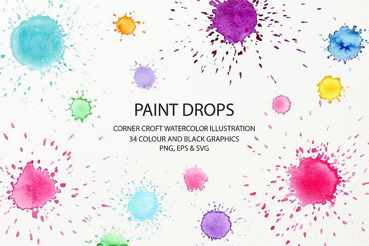 Watercolor paint drop and paint splatter effect for instant