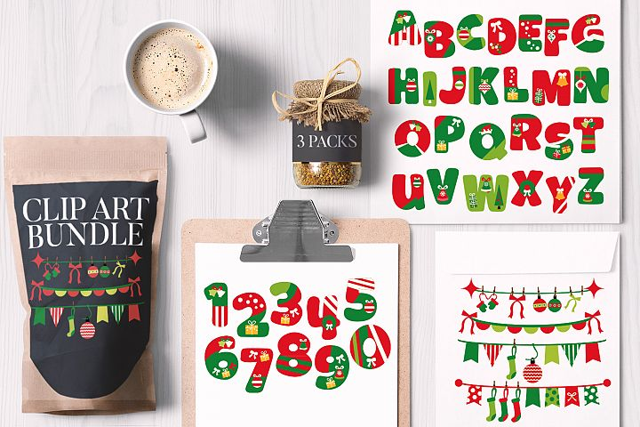 Christmas Alphabet Letters and Numbers Bundle