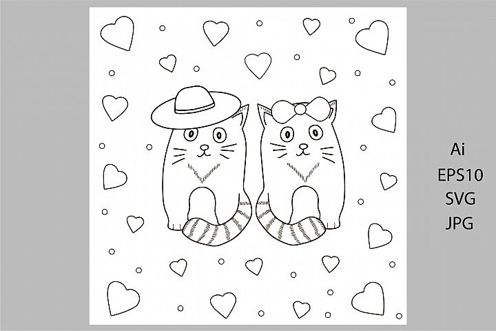 Digital coloring page. Card with cats and hearts