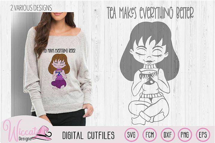 Tea girl cartoon, tea makes everything better quote