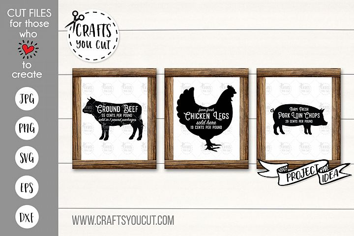 Beef, Chicken, Pork - A Farmhouse Kitchen SVG Cut File Set