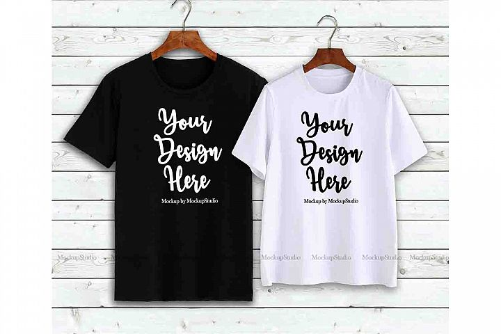 Couple T-Shirts Mockup, Matching Couples Shirts On Hangers