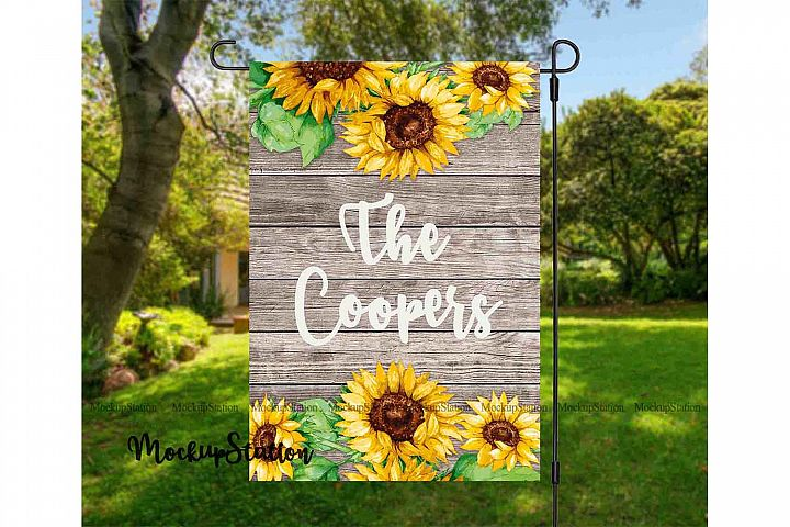 Sunflower Garden Flag Sublimation, Yard Decor PNG Template