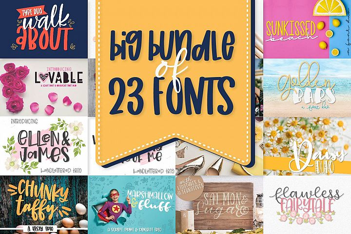 Power Duos - A Huge Font Bundle with 10 duo/trio sets!