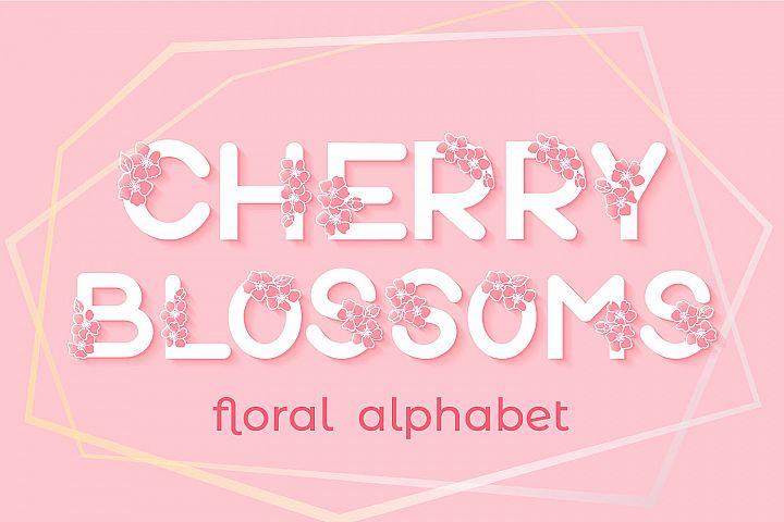 Cherry Blossoms Alphabet - SVG cut files