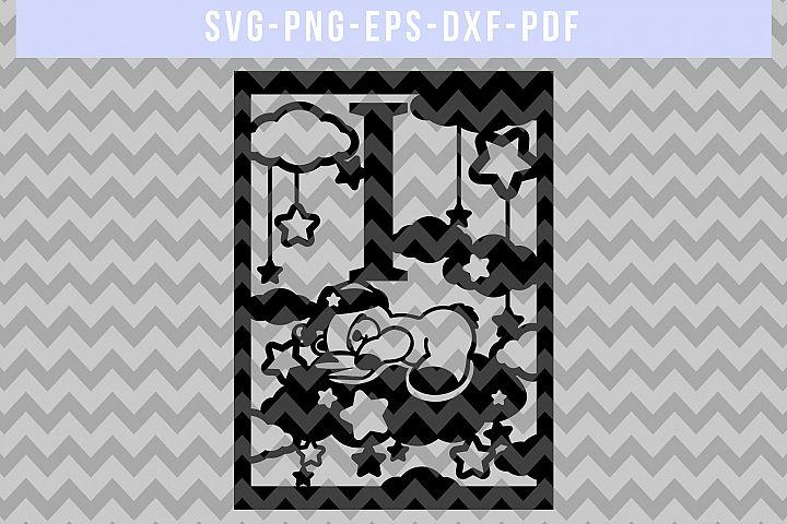 Nursery I SVG Cut File, Monogram Papercut, Paper Art DXF PDF