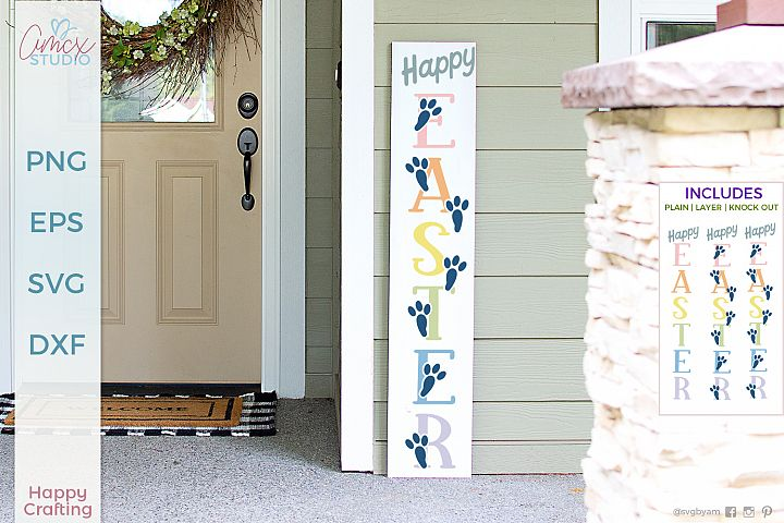 Happy Easter - Vertical Porch Sign