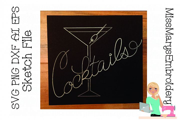 Cocktails Single Line Sketch File SVG PNG DXF AI EPS Al