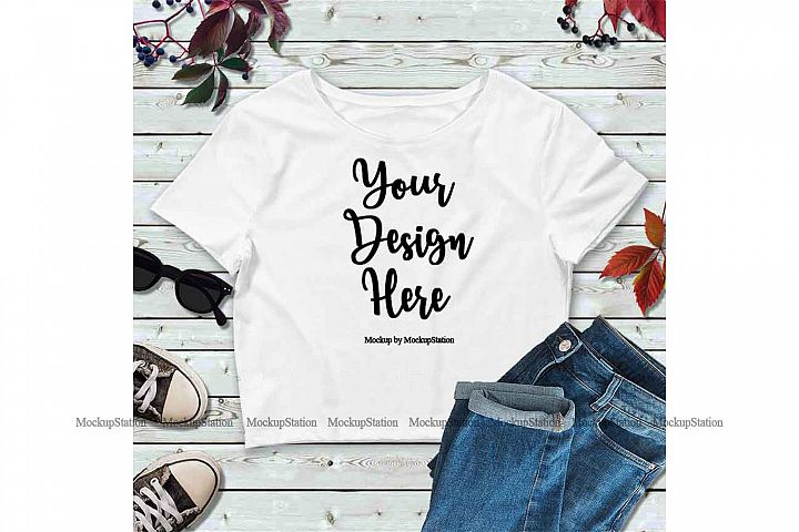 White Fall Crop Top Mock Up, Winter Bella Canvas Mockup Top