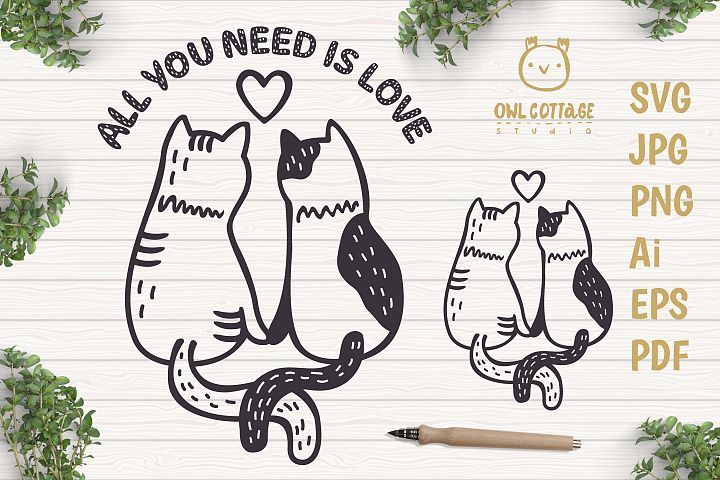 Valentine Cats Couple svg , Cats Clipart, Valentines Day Sv