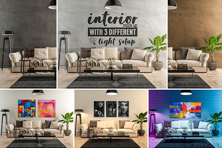 Interior Mock-up by day and by night vol.02