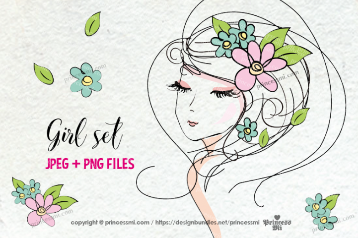 hand drawn pretty girl art set 2, girl face with flowers