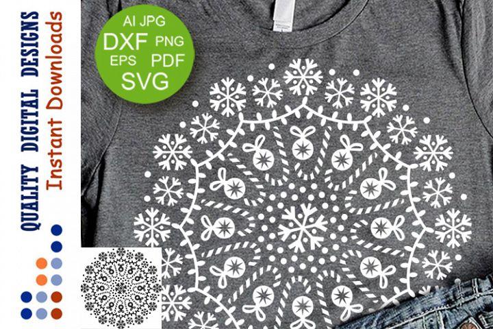 Christmas Mandala clip art Snowflakes SVG files for Cricut