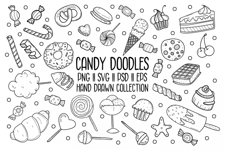 Candy Doodles SVG Bundle - Hand Drawn Vector Icon Set