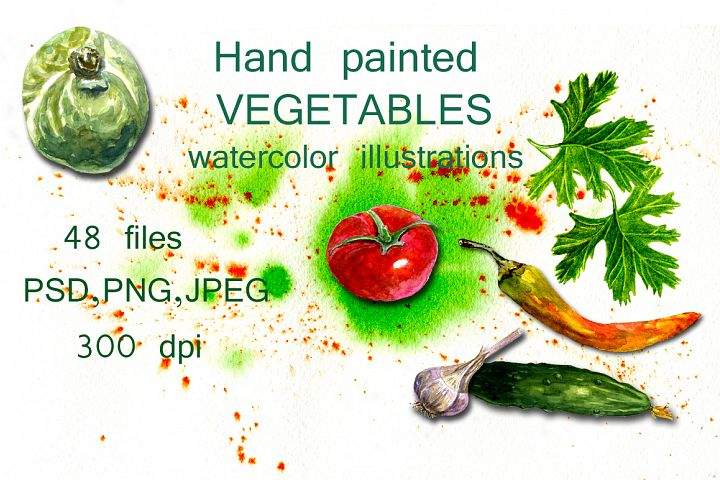 Watercolor illustrations Vegetables