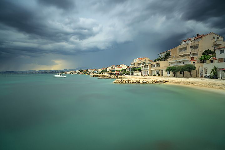 View on adriatic coast line before the storm in Croatia