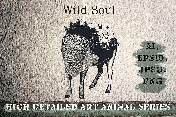 Animal series, wild soul buffalo vector illustration