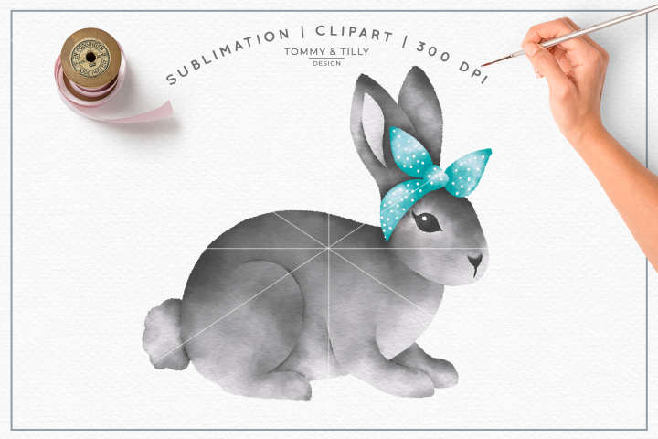 Grey Bunny Bandana No.1 - Sublimation PNG Clipart