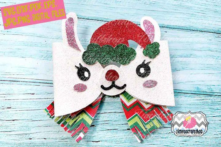 Holiday Christmas Llama Bow Template, Santa Llama Bow