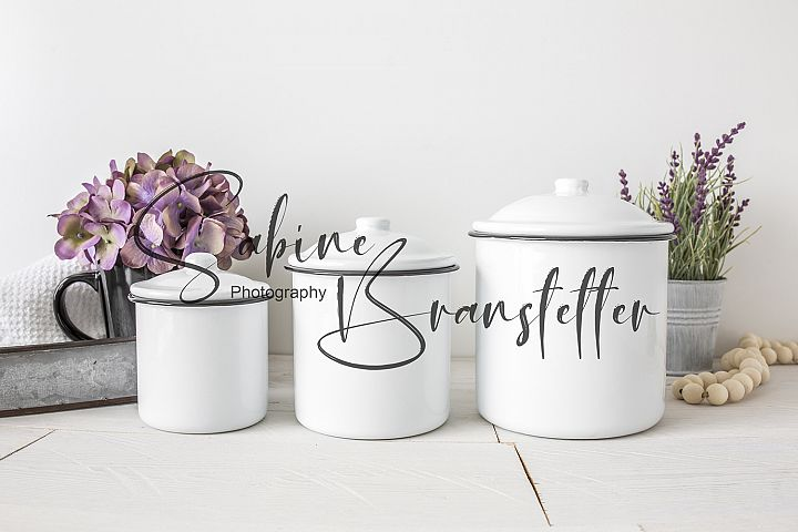 Styled Stock Photo Kitchen Canisters, Container Label Mockup