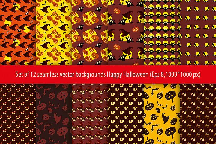 Set of 12 seamless vector backgrounds Happy Halloween.