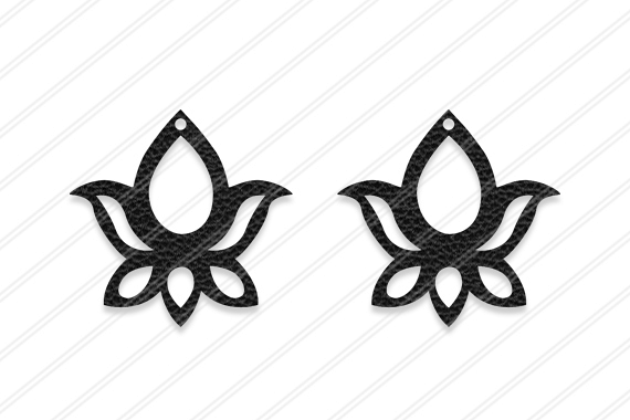 Lotus Earrings svg, Floral earrings, Jewelry svg, leather
