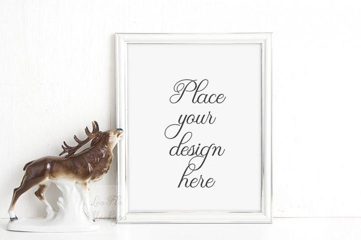 Mockup Frame, white frame mock up, blank frames mock ups, vertical portrait rustic stock photo, png PSD frame template, product mockup