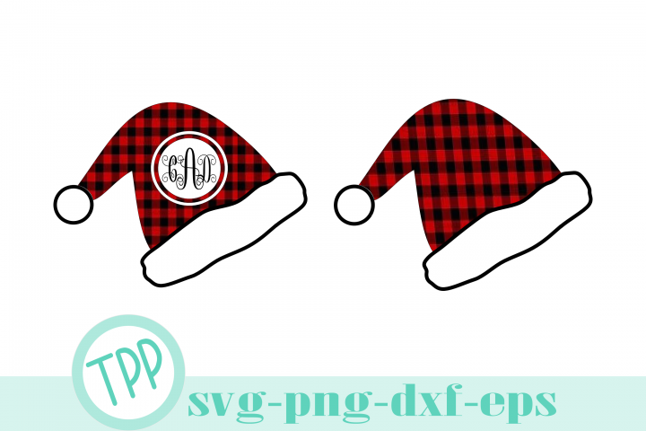 Santa Hat svg, Buffalo Plaid Monogram cut file bundle