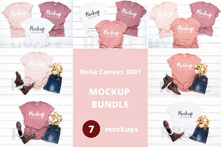 Tshirt Mockup Bundle Bella Canvas 3001 Bachelorette Mockups