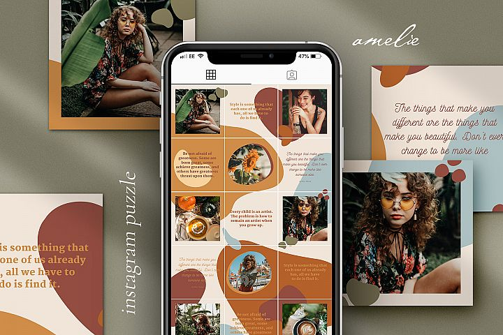 Amelie Instagram puzzle template for Canva