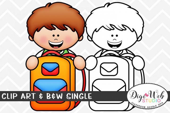 Clip Art & B&W Single - Boy w/ His School Backpack Topper