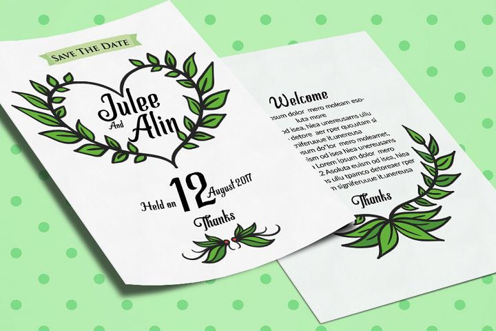 Double Sided Wedding Invitation Card