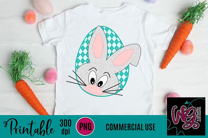 Easter Bunny Peekaboo Gingham Sublimation Printable