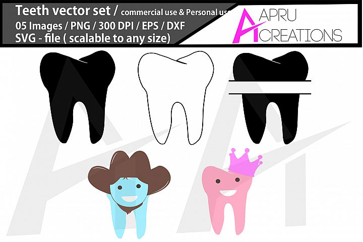 teeth monogram/ teeth silhouette/ teeth cartoon