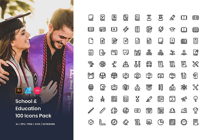 School & Education 100 Set Icons Pack