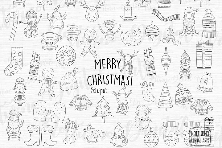Christmas Svg Bundle / 56 clipart black and white