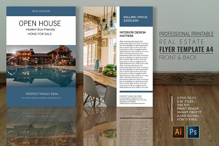 Professional Real Estate Flyer A4 - Printable Templates