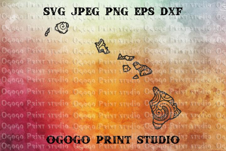 Hawaii SVG, Map Zentangle SVG, Mandala svg, Travel svg