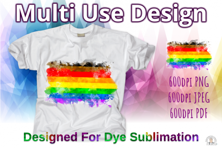 People of Colour Pride Flag ink Splash Sublimation Design