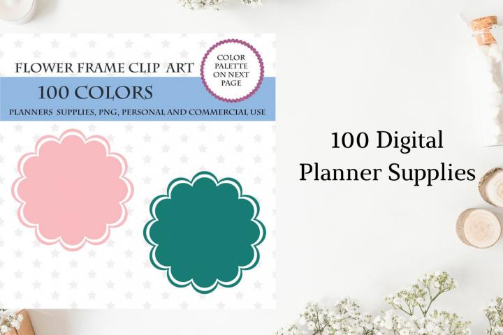 100 Flower frame clipart, Frame art digital, Round clip art