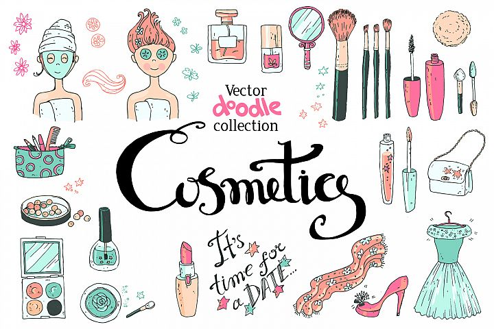 Doodle cosmetics, fashion, spa and beauty. Vector. - Free Design of The Week Font