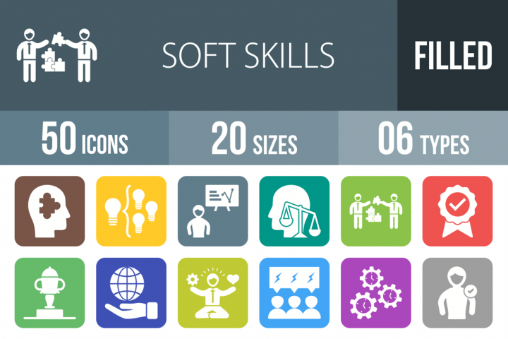 50 Soft Skills Filled Round Corner Icons