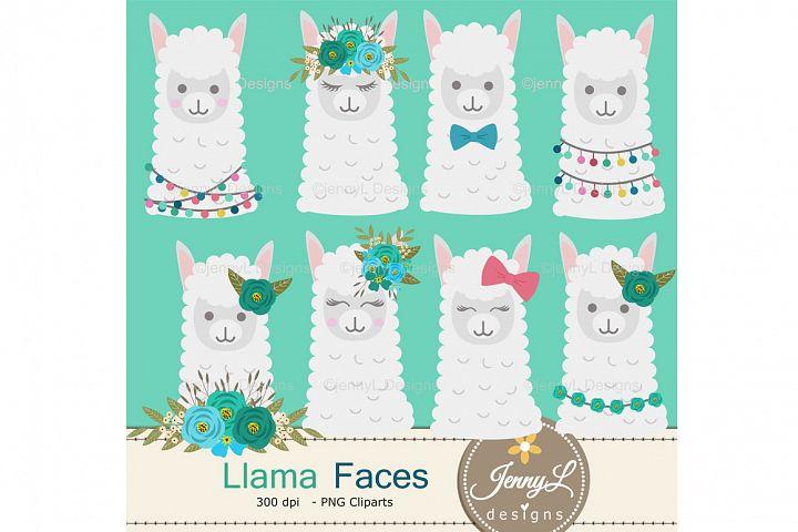 Llama Alpaca Faces Clipart SET